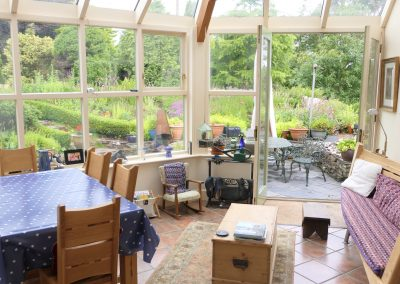 Conservatory and herb garden.