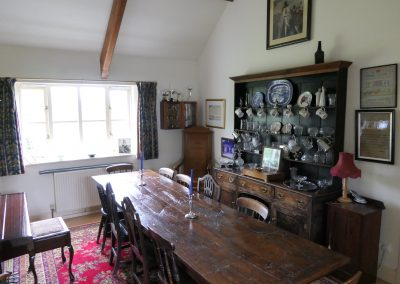 Dining room with 15th C table and Welsh dresser.